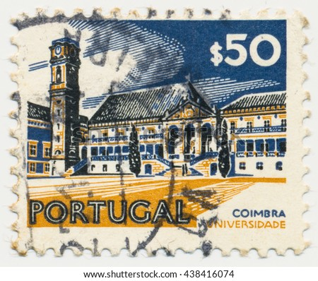 ST. PETERSBURG, RUSSIA - MAY 17, 2016: A postmark printed in PORTUGAL, shows University in Coimbra, circa 1971 - stock photo