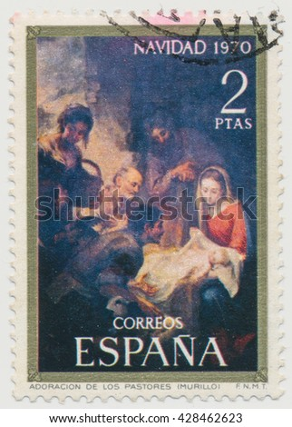 ST. PETERSBURG, RUSSIA - MAY 28, 2016: A postmark printed in SPAIN, shows Christmas. Adoration of the Shepherds by Murillo, circa 1970