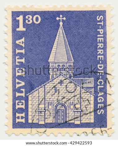 ST. PETERSBURG, RUSSIA - MAY 31, 2016: A postmark printed in SWITZERLAND, shows Church of St. Pierre de Clages, circa 1966