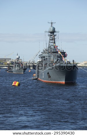 ST. PETERSBURG, RUSSIA - MAY 09, 2015: Column warships of the Baltic Fleet on parade in honor of Victory Day