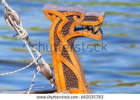 ST. PETERSBURG, RUSSIA - MAY 27, 2017: Rostrum of the Viking ship at the festival `Legends of the Norwegian Vikings` on City Day, circa 2017