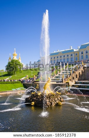 ST. PETERSBURG, RUSSIA - MAY 19 2012. Samson Fountain of the Grand Cascade near Peterhof Palace.  - stock photo