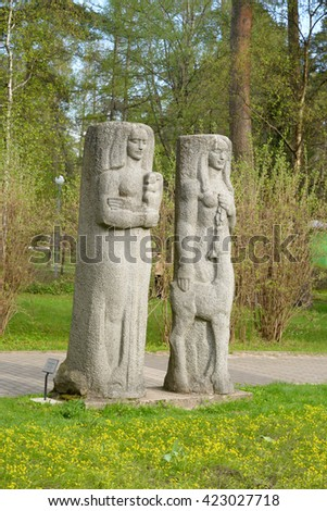 ST.PETERSBURG, RUSSIA - 14 MAY, 2016: Sculpture at spring park in Zelenogorsk on the outskirts of St.Petersburg.