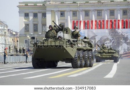 ST. PETERSBURG, RUSSIA - MAY 05, 2015: The BTR-82A on rehearsal of parade in honor of Victory Day on Palace square