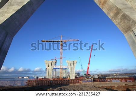 St. Petersburg, Russia - October 30, 2014: Construction site of a highway, the construction of the cable-stayed bridge across the Malaya Neva and the Gulf of Finland. Bridge abutments.