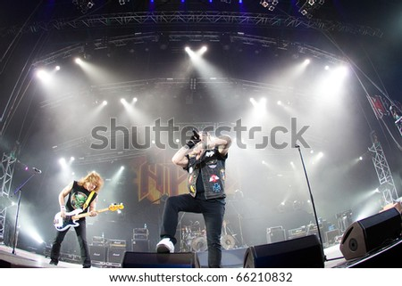 "ST. PETERSBURG, RUSSIA - OCTOBER 20: Group ""ARIA"" in concert on OCTOBER 20, 2010 in St Petersburg, Russia - stock photo"
