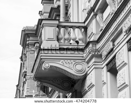 ST. PETERSBURG, RUSSIA, on August 21, 2016. Architectural fragment of a facade of the old building