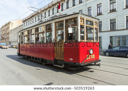 ST. PETERSBURG, RUSSIA, on february 24, 2016. The retro the tram goes on Bolshaya Sadovaya Street