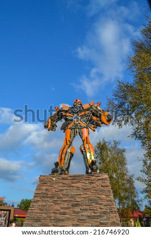 ST. PETERSBURG, RUSSIA - SEPTEMBER 7. Exhibition, rise of the machines. Bumblebee transformer. - stock photo