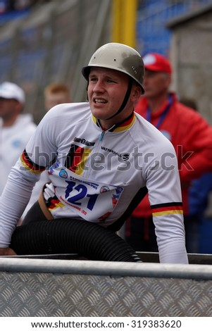 ST. PETERSBURG, RUSSIA - SEPTEMBER 9, 2015: Team Germany during competitions in combat deployment during XI World Championship in Fire and Rescue Sport. First World Championship was held in 2002 - stock photo