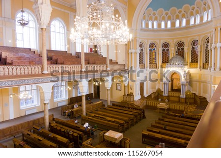 ST. PETERSBURG, RUSSIA - SEPTEMBER 14: The Choral Synagogue interior on September 14, 2012 in St. Petersburg, Russia. Completed in 1893, The Choral synagogue is the main synagogue in St. Petersburg. - stock photo
