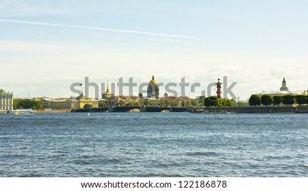 St. Petersburg, Russia, view on city centre from quay of river Neva, cathedral of St. Isaak and the Admiralty.