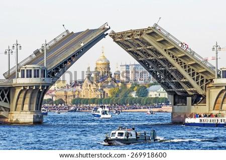 St. Petersburg summer people bridge river Neva church ship - stock photo