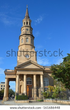 St. Philip's Episcopal Church in Charleston, South Carolina - stock photo