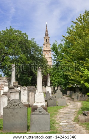 St Phillip's church with steeple in Charleston SC - stock photo