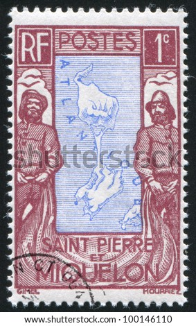 ST. PIERRE AND MIQUELON - CIRCA 1931: stamp printed by Saint Pierre and Miquelon, shows Map and Fishermen, circa 1931. - stock photo
