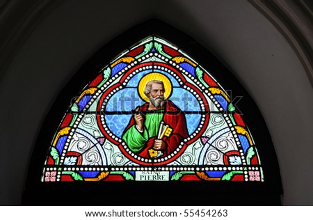 St. Pierre Stained Glass Color - stock photo