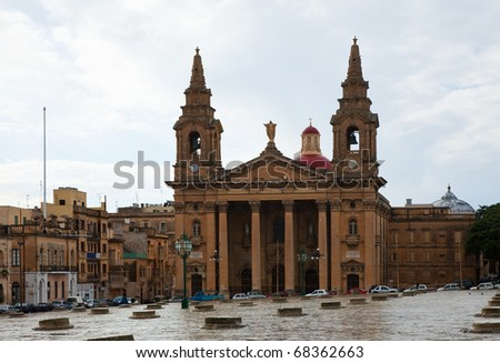 St. Publius Cathedral at Floriana. Malta - stock photo