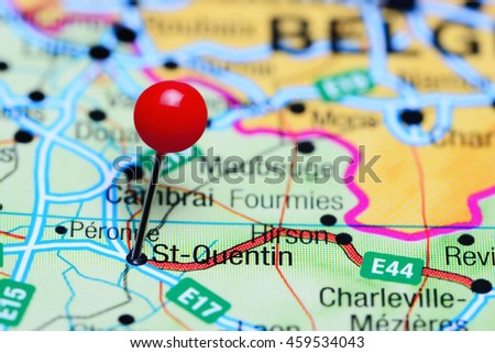 Stquentin Pinned On Map France Stock Photo Royalty Free 459534043