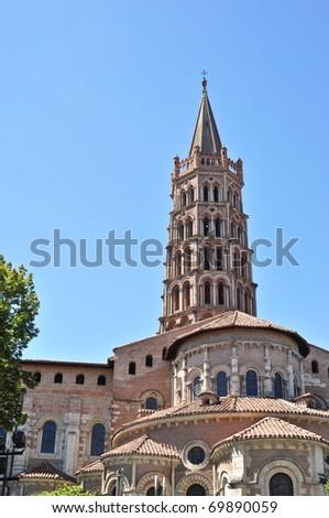 St Sernin Basilic in Toulouse - stock photo