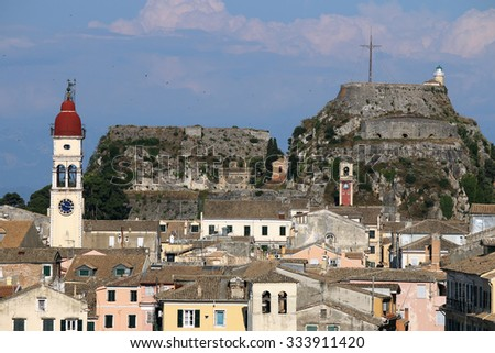 St. Spiridon church and old fortress Corfu town cityscape