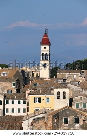 St.Spiridon church tower Corfu Greece - stock photo