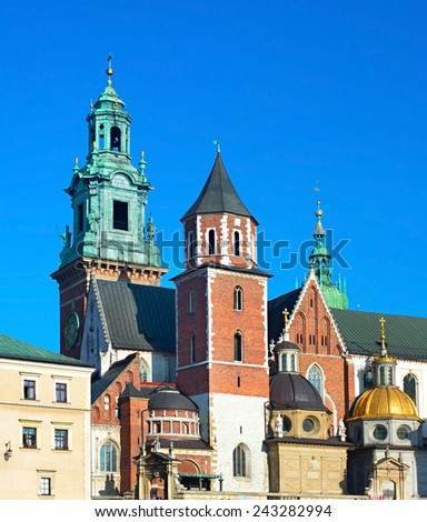 St. Stanislaw and Vaclav Basilica or Wawel Cathedral in Krakow, Poland  - stock photo