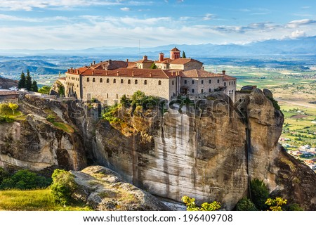 "St Stefan Monastery in Meteora rocks, meaning ""suspended into air"" in Trikala, Greece - stock photo"
