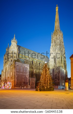 St. Stephan cathedral and christmas tree, Vienna - stock photo