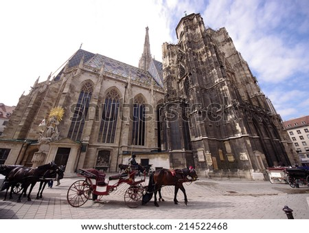 St Stephan Cathedral, Vienna, Austria and horse carriage - stock photo