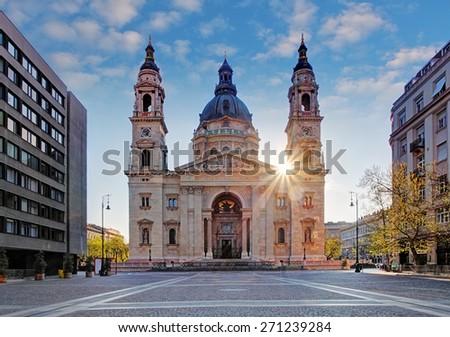 St. Stephen's Basilica in Budapest, Hungary - stock photo