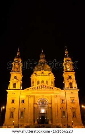 St. Stephen's Basilica in Budapest, Hungary at night
