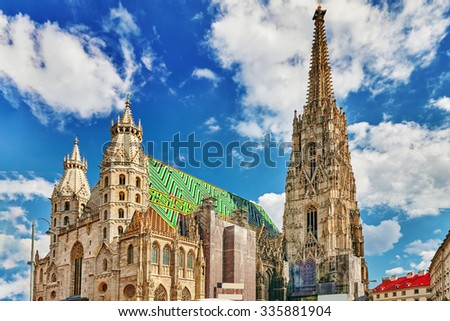 St. Stephen's Cathedral(Stephansdom) the mother church of the Roman Catholic Archdiocese of Vienna and the seat of the Archbishop of Vienna.Austria. - stock photo