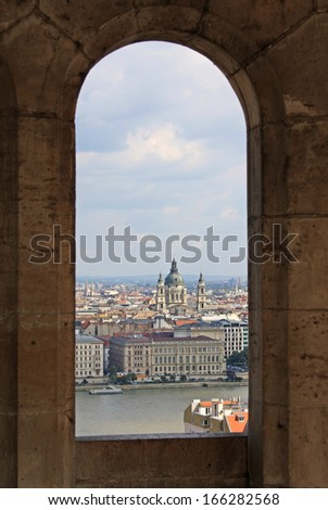 St. Stephens Basilica in Budapest in window as a frame - stock photo