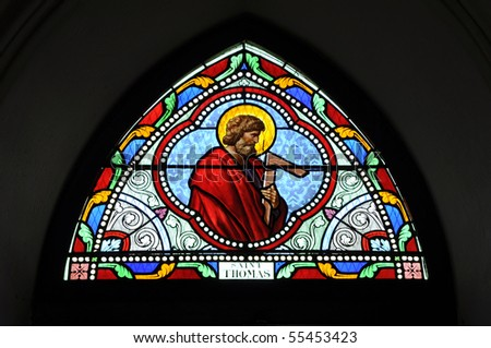 St. Thomas Stained Glass Color - stock photo