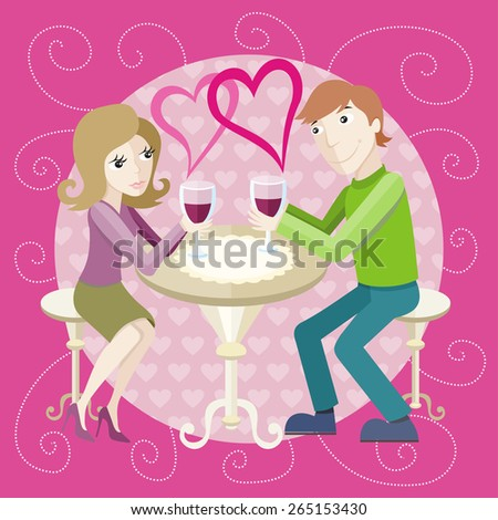 St Valentine concept. Young happy amorous couple with glasses of redwine on romantic date at restaurant. Raster version - stock photo