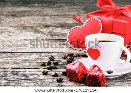 St Valentine's breakfast with coffee and chocolate - stock photo
