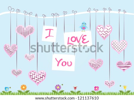 St Valentine�s Day Card � The message �I Love You� hanging from a branch with decorated hearts. Raster Version. - stock photo