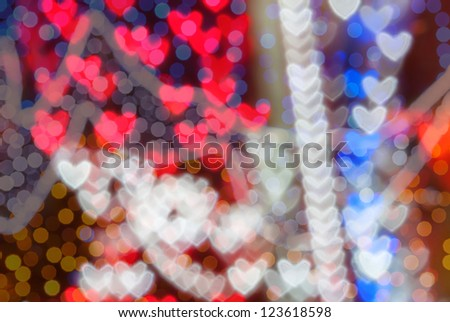 St. Valentine's Day colorful heart bokeh background, place for text - stock photo