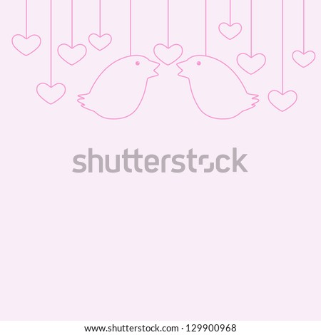 St Valentine's Day greeting card with two hanging birds and several hanging hearts - stock photo