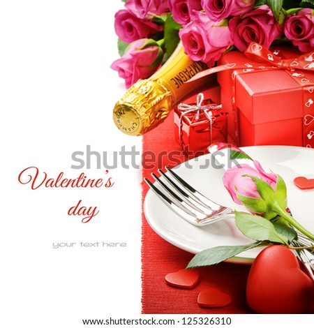 St Valentine's menu concept isolated over white