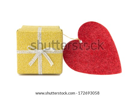 St Valentines golden shiny gift box and red heart shaped card on white background. - stock photo