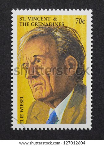 ST.VINCENT AND THE GRENADINES  CIRCA 1999: a postage stamp printed in Saint Vincent and The Grenadines showing an image of Elie Wiesel, circa 1999. - stock photo