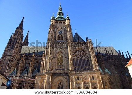 St. Vitus Cathedral in Prague Castle in Prague, Czech Republic. Horizontal image - stock photo