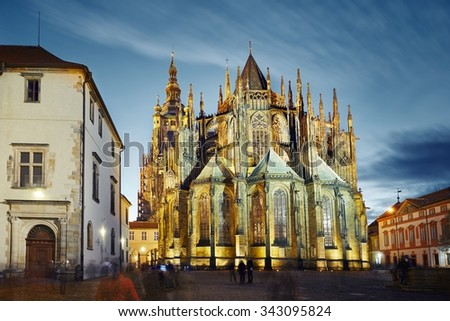 St. Vitus Cathedral in Prague, Czech Republic - stock photo