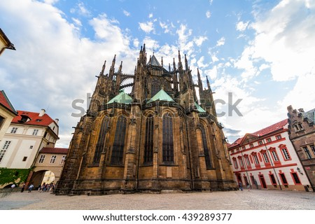 St. Vitus Cathedral in Prague, Czech Republic. The cathedral is the seat of the Archbishop of Prague and is the biggest and most important church in the country.