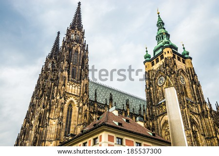 St. Vitus Cathedral on the grounds of Prague Castle in Prague, Czech Republic. - stock photo