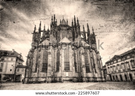 St. Vitus Cathedral retro style in Prague, Czech Republic.