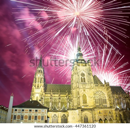 St. Vitus Cathedral (Roman Catholic cathedral ) and holiday fireworks, Prague, Czech Republic