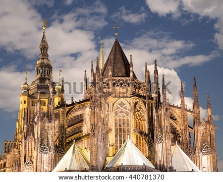 St. Vitus Cathedral (Roman Catholic cathedral ) in Prague Castle, Czech Republic   - stock photo
